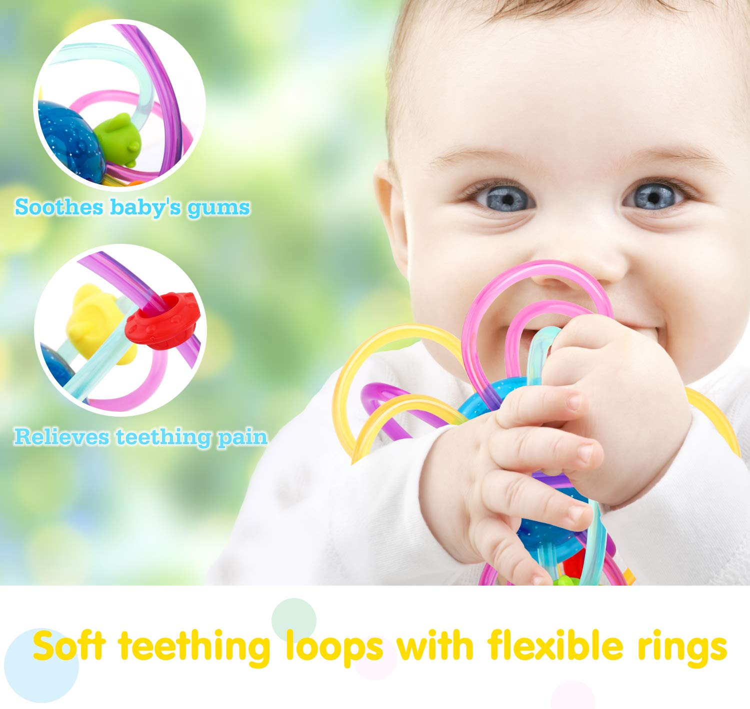 Zooawa Baby Teether BPA-Free Teether Ball Rattle Toy for Infants and Toddlers Soft Rattle and Sensory Ball Teething Toy for Pain Relief Easy to Hold Translucent