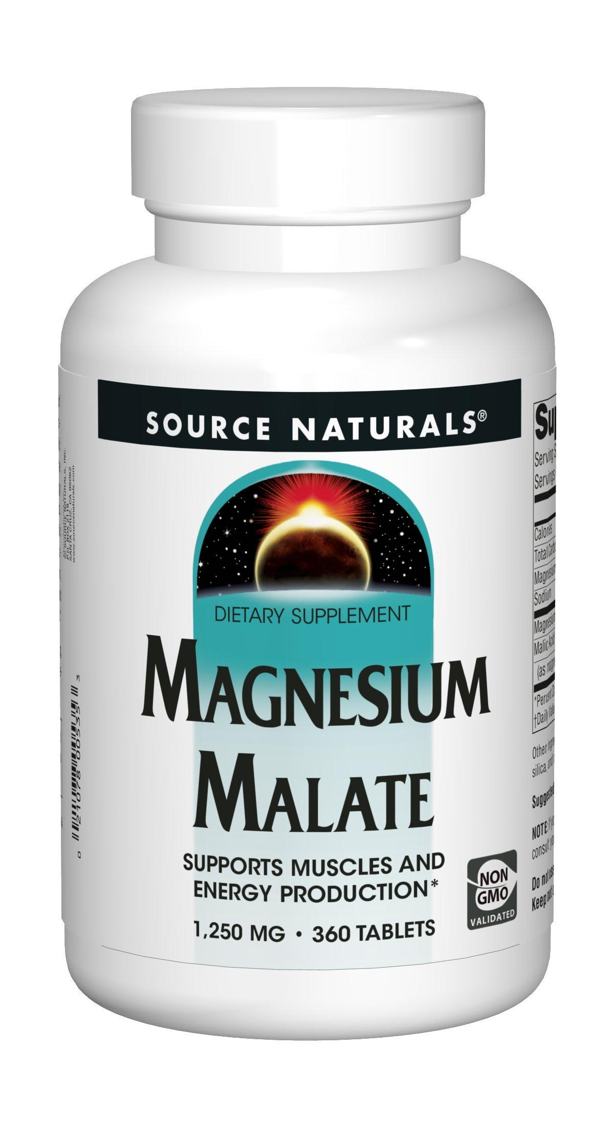 Source Naturals Magnesium Malate 1250mg Supplement Supports Natural Muscle Function & Health, Energy Production & Healthy Skin - Essential, Bio-Available Magnesium Malic Acid Supplement - 360 Tablets