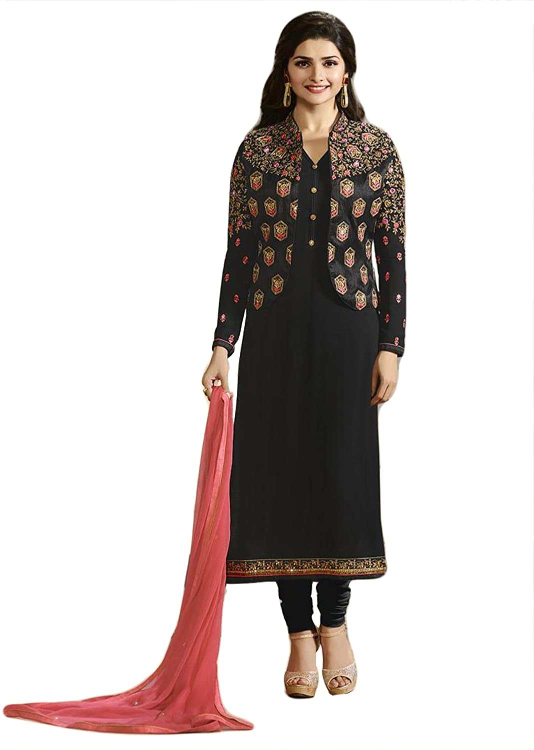 Semi-Stitched Salwar Kameez / Heavy Embroidery Work Georgette ...