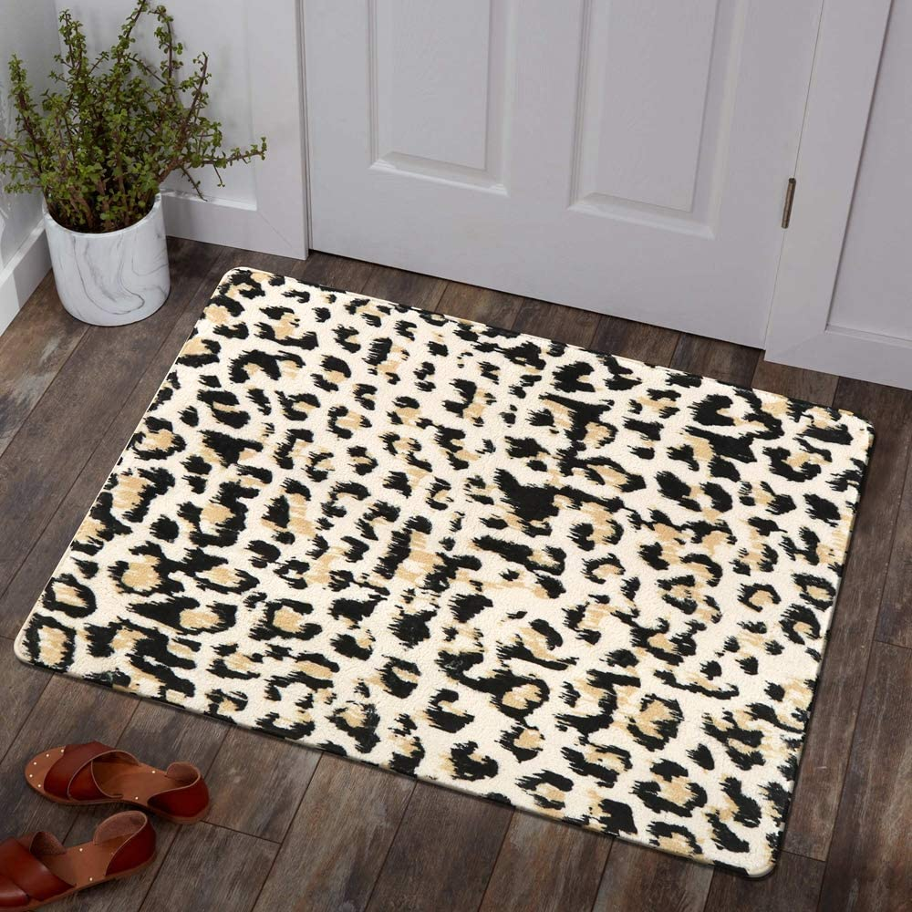 Lahome Leopard Print Area Rug - 2' X 3' Faux Wool Non-Slip Area Rug Small Accent Distressed Throw Rugs Floor Carpet for Door Mat Entryway Bedrooms Laundry Room Decor (2' x 3', Leopard)