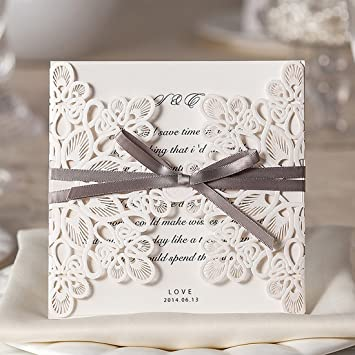 Wishmade Einladungskarten Für Hochzeit Geburtstag Taufe Weiß Blumen  Lasercut Design Mit Schleife 50 Stücke Inkl Umschläge