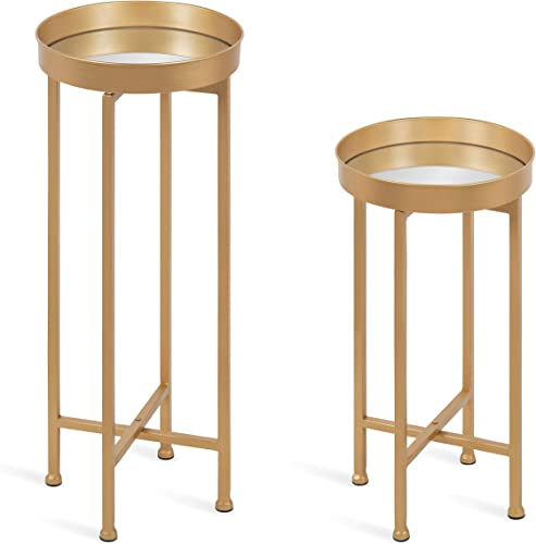 Kate and Laurel Celia Round Metal Foldable Tray Table Set, 2 Piece, Gold Mirror