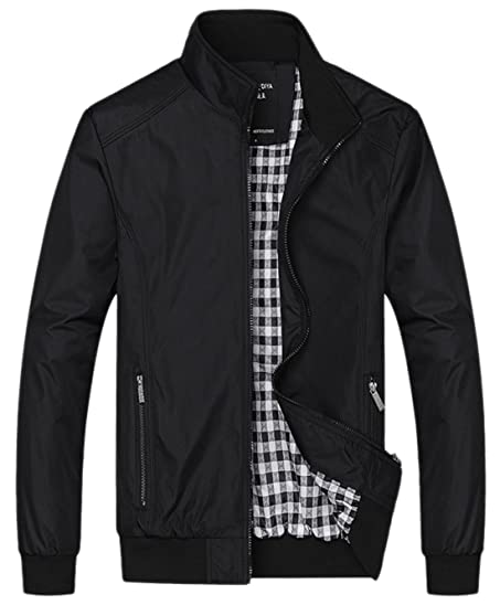 Chouyatou Men's Active Lightweight Softshell Zipper Bomber Jacket ...