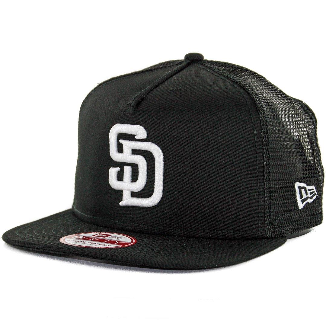 755238354f1 Amazon.com   New Era 950 San Diego Padres Trucker Snapback Hat (Black White)  Mens Mesh Cap   Sports   Outdoors