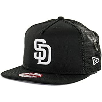 c6cc2ee2baf Image Unavailable. Image not available for. Color  New Era 950 San Diego  Padres Trucker Snapback Hat (Black White) Mens Mesh