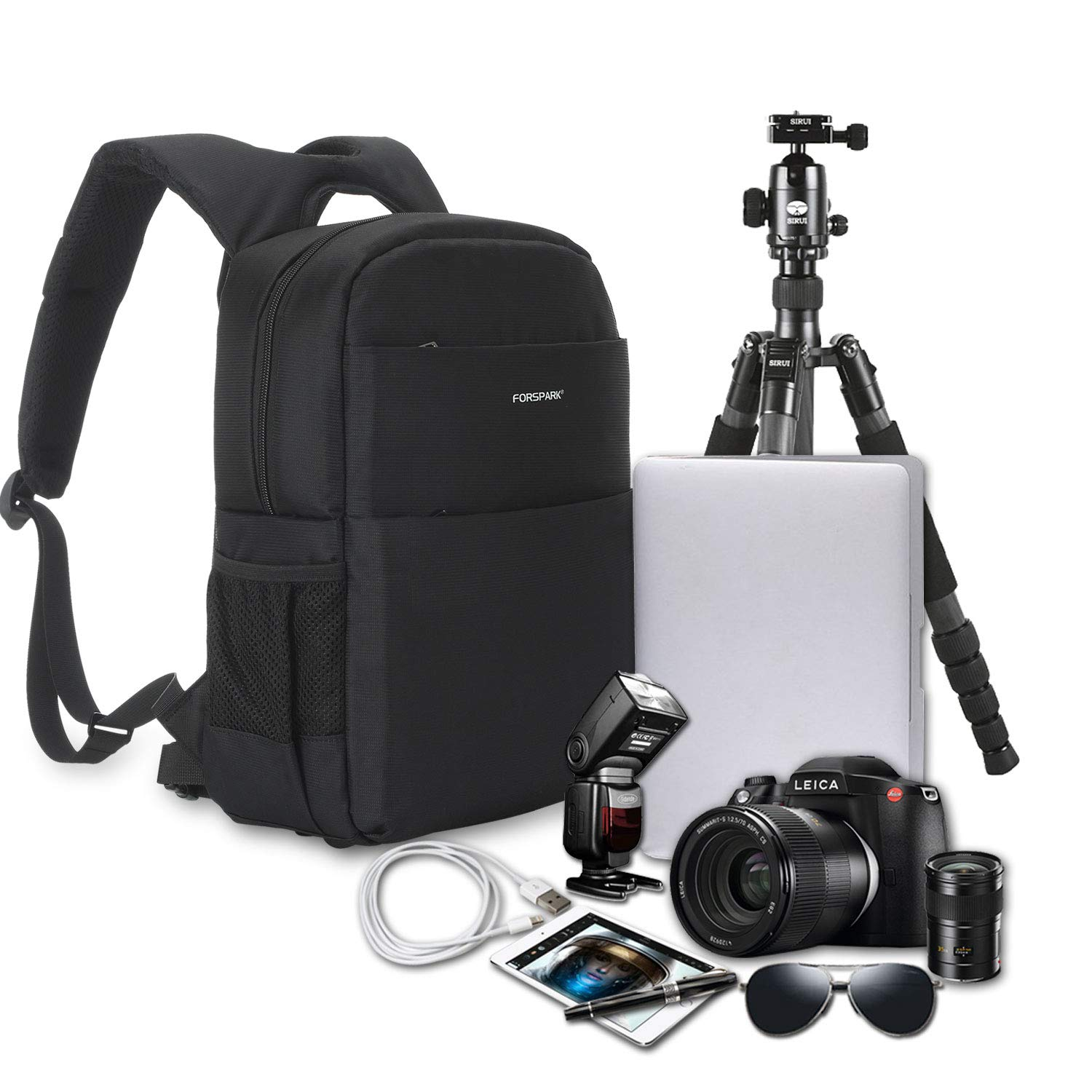 FORSPARK Camera Bag Backpack for DSLR Cameras, Camera Backpack with Waterproof Rain Cover