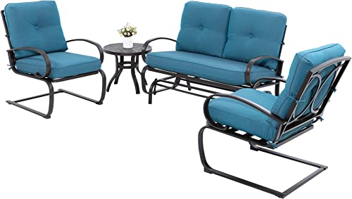 JY QAQA 4Pcs Outdoor Patio Furniture Conversation Sets Glider Loveseat