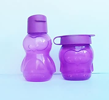 Tupperware - Botella Ecológica en Forma de Pingüino Color Morado de 350ml para Niños: Amazon.es: Hogar