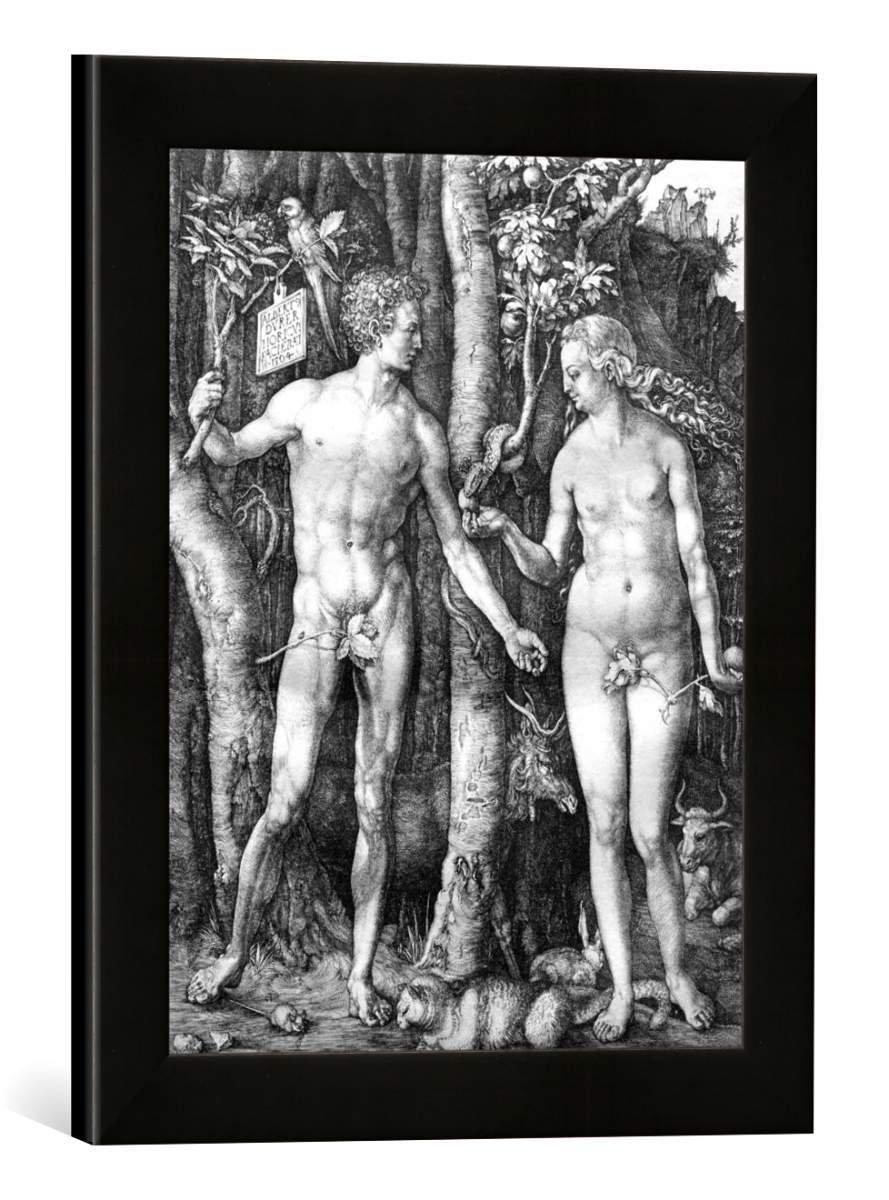 Gerahmtes Bild von Albrecht Dürer Adam und Eva, Kunstdruck im hochwertigen handgefertigten Bilder-Rahmen, 30x40 cm, Schwarz matt