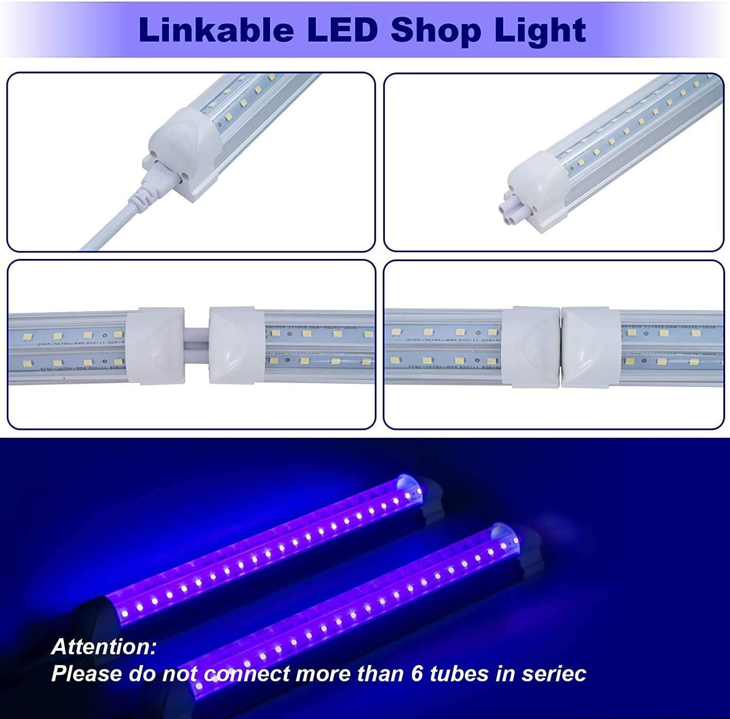 4 Pack LED/ UV/ Black/ Light/ 1FT/ 10W/ T8/ Integrated/ V/ Shaped/ Tube/ Lamp/ Clear/ Cover,for/ Blacklight Poster,/ Party,/ Club,/ Bar,Festival,/ Fun Atmosphere Led/ Stage/ /&n