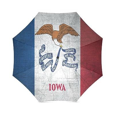 good Custom Iowa State Flag Compact Travel Windproof Rainproof Foldable Umbrella
