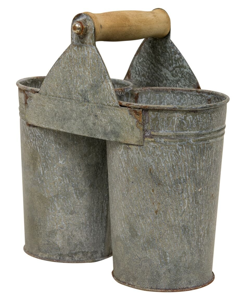 Craft House Designs Galvanized Utensil Caddy Flower Cans Rustic Farmhouse Industrial Style