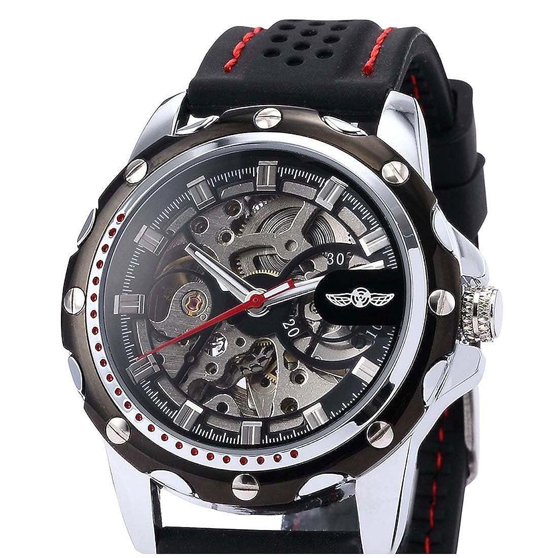 Hombre Reloj - winner Reloj Hombre Esqueleto Mecanico Automatico, Correa de Silicona Negro PMW081: Amazon.es: Relojes