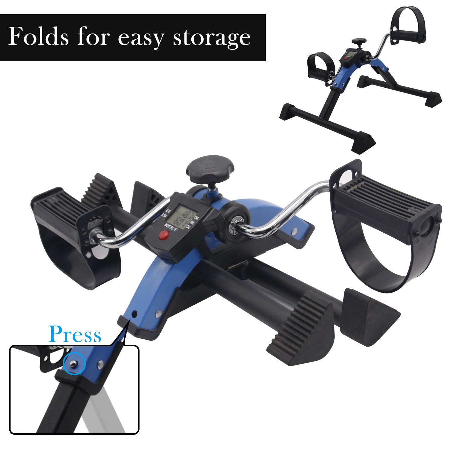 Friday discount Stationary Exercise Bike Indoor Under Desk Pedal Exerciser with LCD Monitor and Adjustable Resistance Fitness Foot Bike Blue by Friday discount (Image #1)