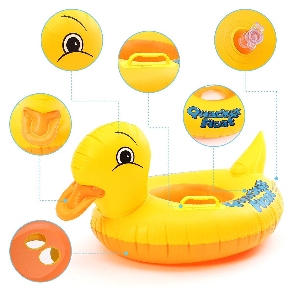 FUNTOK Pato amarillo anillos inflables de la natación Diseño amarillo lindo del pato Flotador Asiento del barco Círculo del coche de la playa Círculo del ...