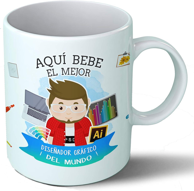 Planetacase Taza Desayuno Aquí Bebe el Mejor diseñador gráfico del Mundo Regalo Original Ceramica 330 mL: Amazon.es ...