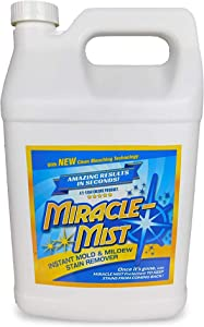 MiracleMist Instant Mold and Mildew Stain Remover for Indoor and Outdoor Use - Long Lasting Bathroom, Deck, Concrete, Vinyl, Tile Cleaner, 1 Gallon…