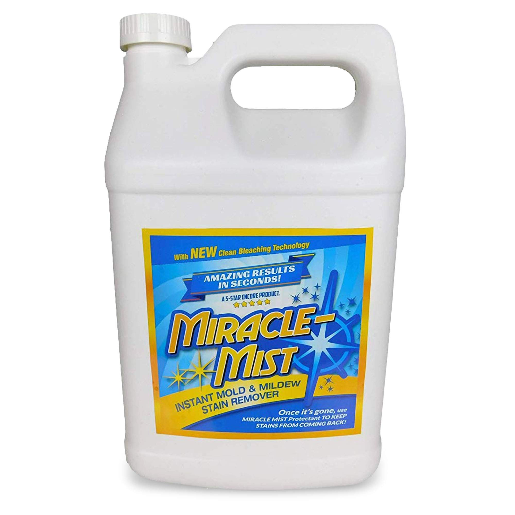 MiracleMist Instant Mold and Mildew Stain Remover for Indoor and Outdoor Use - Long Lasting Bathroom, Deck, Concrete, Vinyl, Tile Cleaner, 1 Gallon by MiracleMist