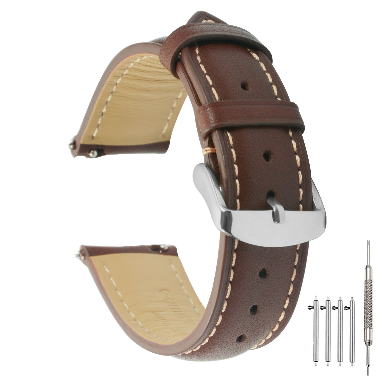 Quick Release Watch Band 20mm Leather Brown Replacement Watch Strap Genuine Polished Watch Clasp Buckle Padded Super Soft (18mm 20mm 22mm)