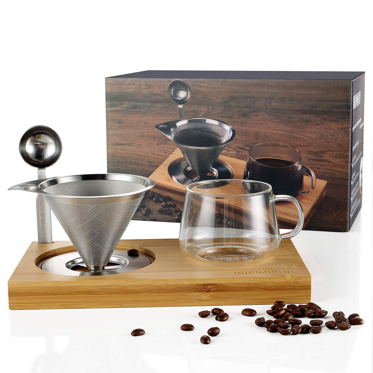 Pour Over Coffee Dripper Set Include Stainless Steel Paperless Reusable Filters, 8 Ounce Glass Cup, Spoon and Bamboo Base, Portable Single Cup Coffee Maker for Home Office - Gift-ready Package by SEMKO