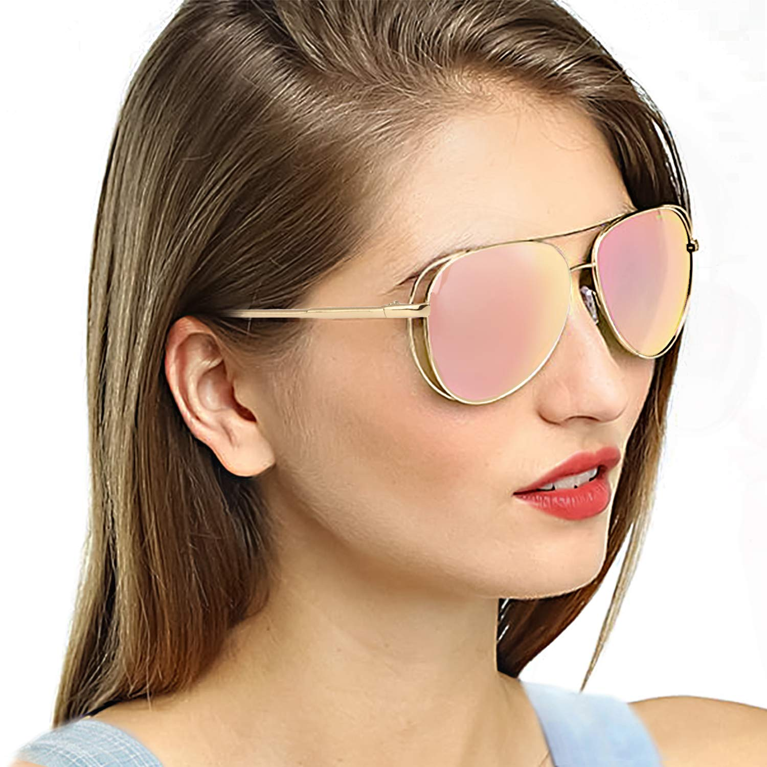 2261b4b29d SODQW Oversized Aviator Women s Classic Sunglasses Polarized Mirrored Lens  Metal Wire Fashion Eyewear - UV 400 Protection