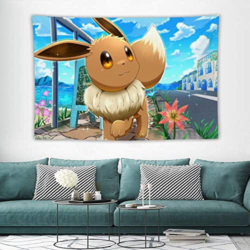 Tapestry,Eevee,Best children birthday present,Cartoon Anime Wall Hanging Art for Bedroom Living Room College Dorm Home Decor,60×40 inches