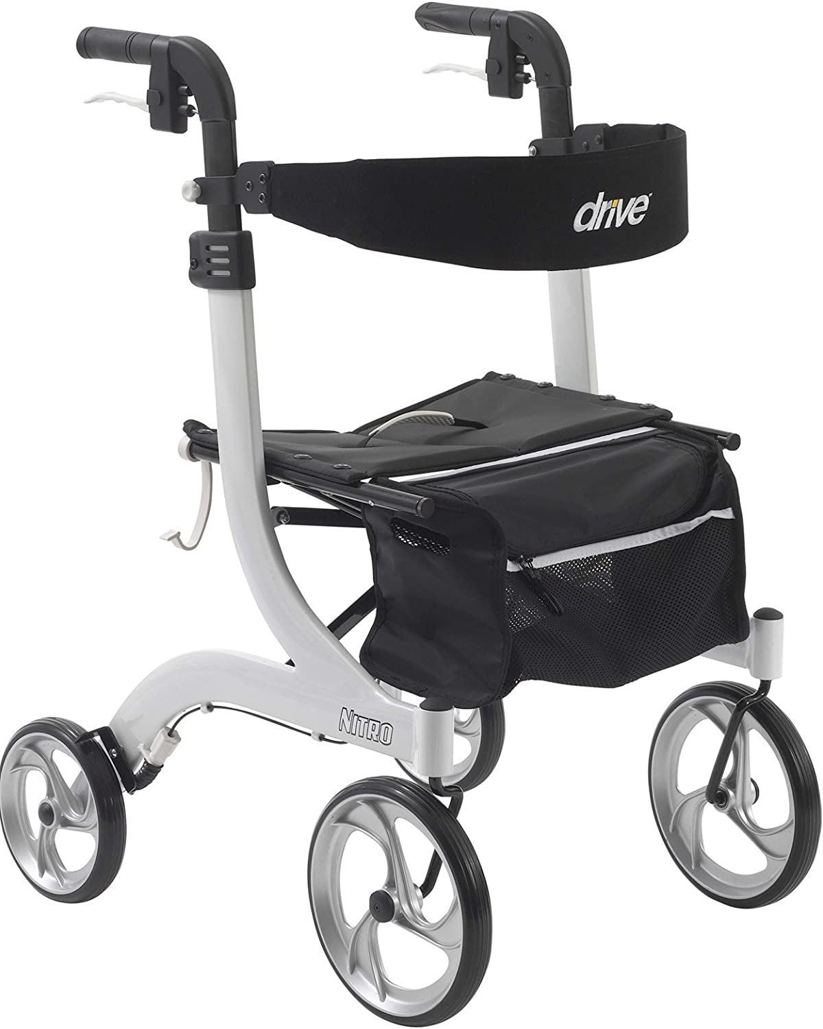 Amazon Com Drive Medical Nitro Euro Style Rollator Walker Standard Height White 1 Count Complete Medical Health Personal Care