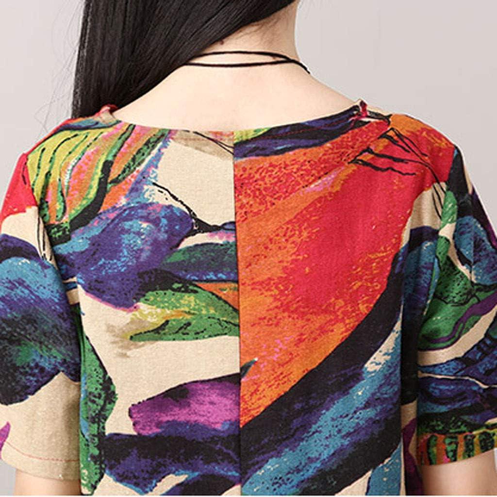 Peigen Retro Women Dress Womens O-Neck Short Sleeve Cotton and Linen Loose Printing Dress