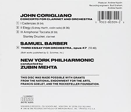 new york philharmonic samuel barber john corigliano zubin mehta  new york philharmonic samuel barber john corigliano zubin mehta stanley drucker barber third essay for orchestra corigliano concerto for clarinet