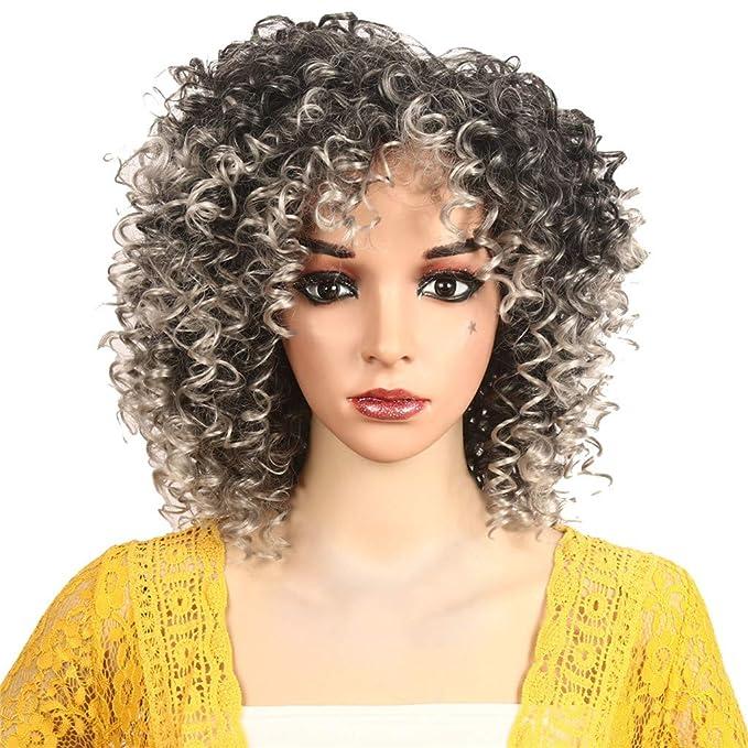 Staresen Pelucas Peluca para mujer de material sintético pelo largo hasta el hombro tan natural que parece pelo real Colores gris y dorado y rojo (Gris): ...
