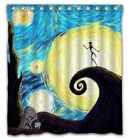 Patwee Happy Halloween Starry Night Design Shower Curtain Waterproof Fabric For Bathroom Decoration 66x72 Inch