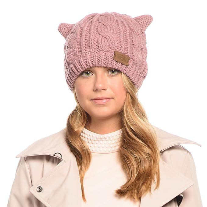 Women s Double Pom Pom Beanie Warm Winter Knit Hat Cute Animal Look (A Pink) 17e6e787a
