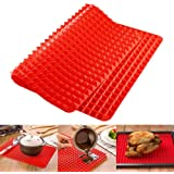 Top Pyramid Pan | 16 x 11 inches Large Red Pyramid/Raised Cone Shaped Healthy Silicone Mat for Cooking, Baking and Roasting | Superb Non-Stick Food Grade Silicone | Dishwasher Safe Series