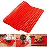 Top Pyramid Pan | 16 x 11 inches Large Red Pyramid / Raised Cone Shaped Healthy Silicone Mat for Cooking, Baking and Roasting | Superb Non-Stick Food Grade Silicone | Dishwasher Safe Series