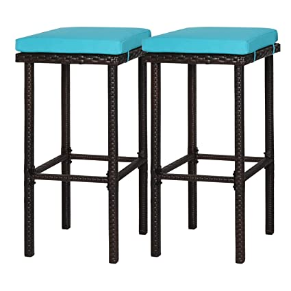 Cool Kinbor 2 Pcs Wicker Rattan Bar Stool Counter Height Patio Outdoor Bar Chair Furniture Set With Blue Cushions Evergreenethics Interior Chair Design Evergreenethicsorg