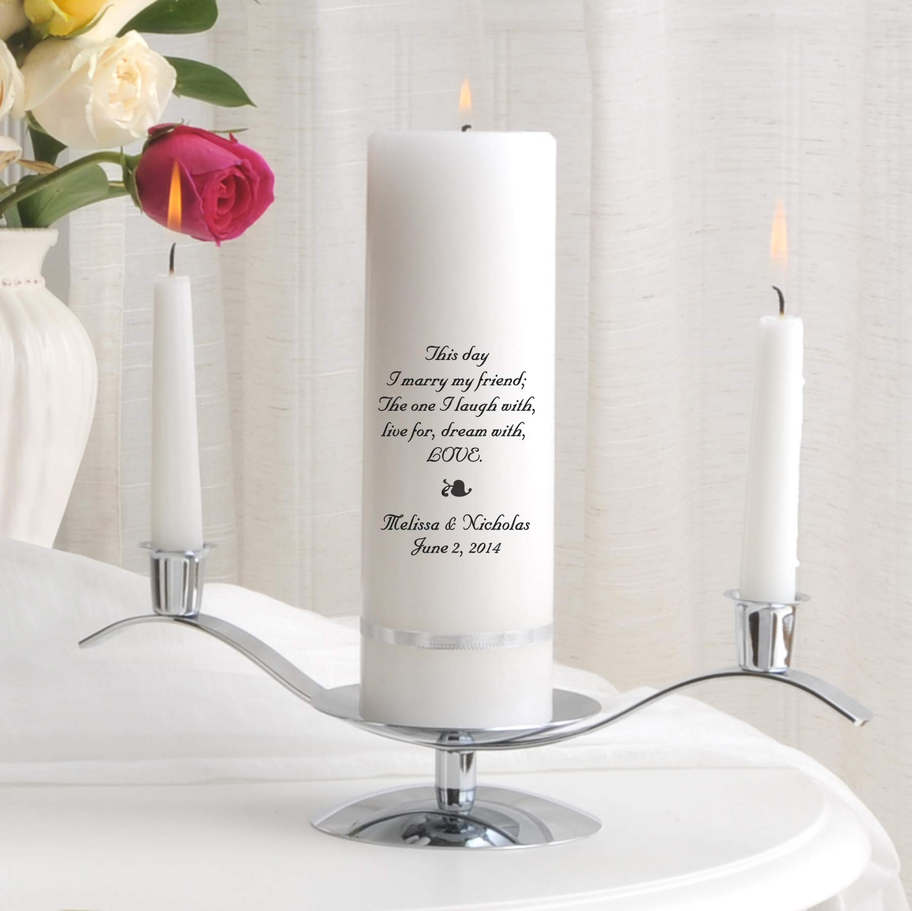 Personalized Unity Wedding Candle Set - Personalized Wedding Candle - Includes Stand - This Day