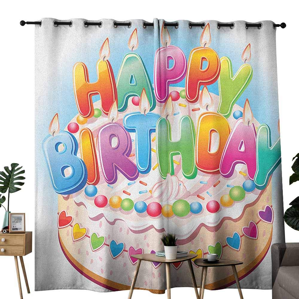 duommhome Kids Birthday Soft Curtain Cartoon Style Happy Birthday Party Image Cake Candles Hearts Design Print Noise Reducing W84 x L96 Multicolor by duommhome (Image #1)