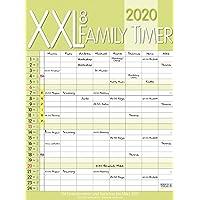 XXL Family Timer 8 2020: Familienplaner mit 8 breiten Spalten. Hochwertiger Familienkalender mit Ferienterminen, extra Spalte, Vorschau bis März 2021 und nützlichen Zusatzinformationen.