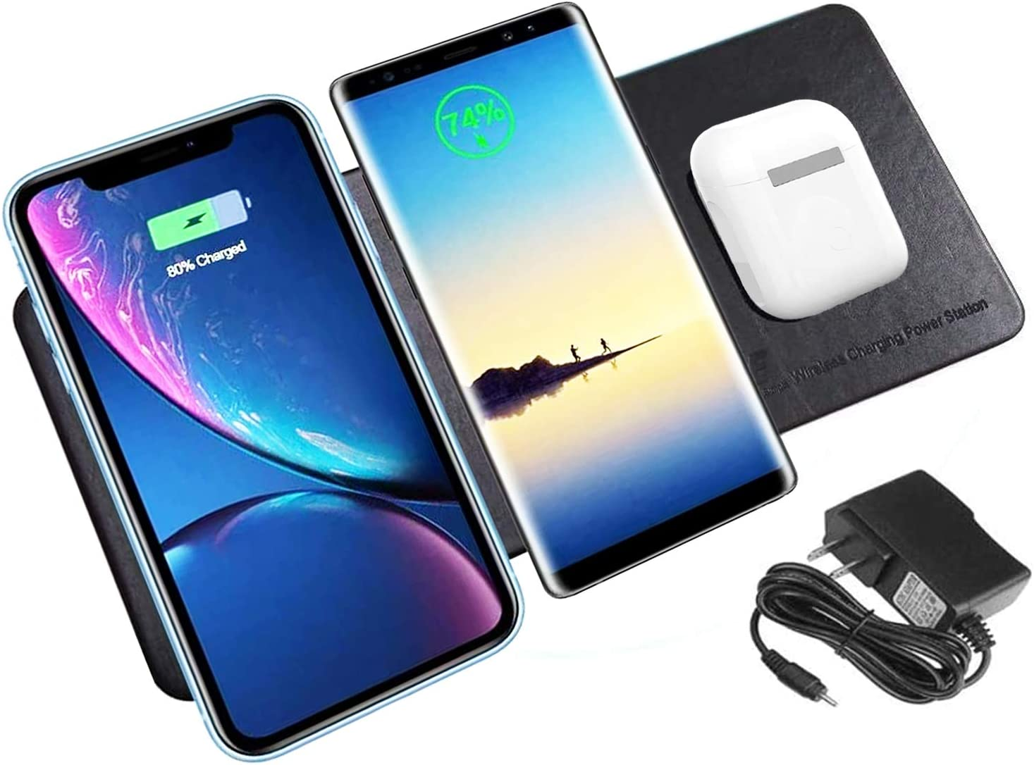 Wireless Charger Station Pad Qi-Certified Ultra-Slim Triple Wireless Charging for Multiple 3 Devices & New Airpods Ultra Slim Leather Mat W/AC Adapter for All Qi Enabled Phones