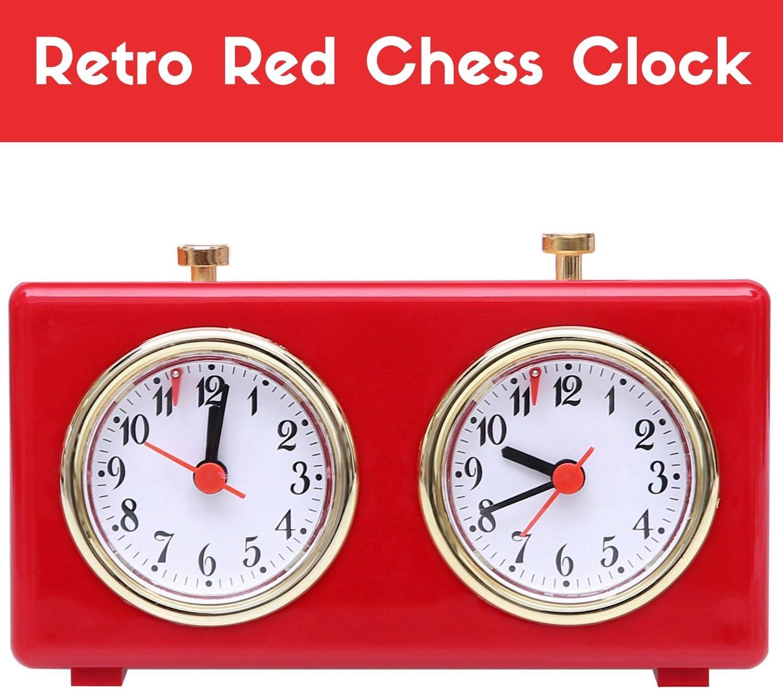 BETTERLINE R/étro Rouge Brillant analogique Chess Clock Timer sans Pile Wind-Up m/écanique Horloge d/échecs avec Grand Facile /à Lire Dials