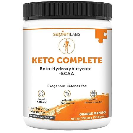 Keto Supplement – Exogenous Ketones BHB 4g BCAA – Ideal for Ketosis Diet, Energy, Performance Focus – Orange Mango Flavor Drink Powder – Sapien Labs