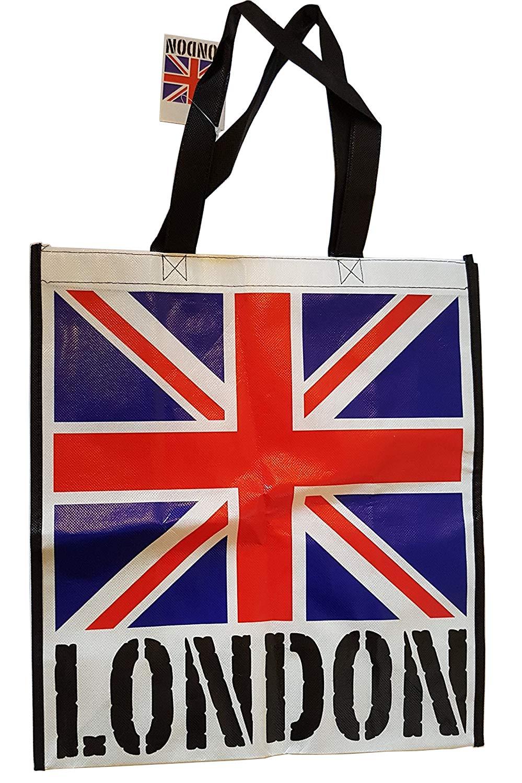 Union Jack borsa con Londra Word su sfondo bianco–Borsa Tote riutilizzabile/British UK souvenir/ideale per spiaggia/shopping/picnic/bandiera rosso bianco blu/nero lati/nylon con robusta con cuciture English Fine Foods and Gifts