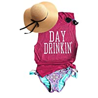 TAKEYAL Women's Day Drinking Casual Tank Tops, Funny Letters Print Vest T-Shirt
