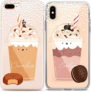 Lex Altern Couple Cases Compatible with iPhone 12 Pro Max 11 Mini SE Xr Xs 8 Plus 7 6 TPU Matching Custom Personalized Clear BFF Oreo Milkshake Soulmate Cute Protective Anniversary Silicone Cover