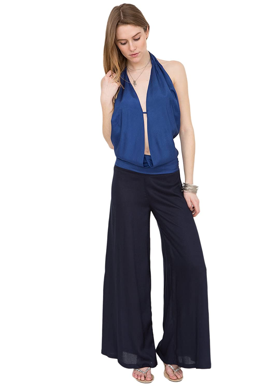 Wide Leg Navy Flare Pants