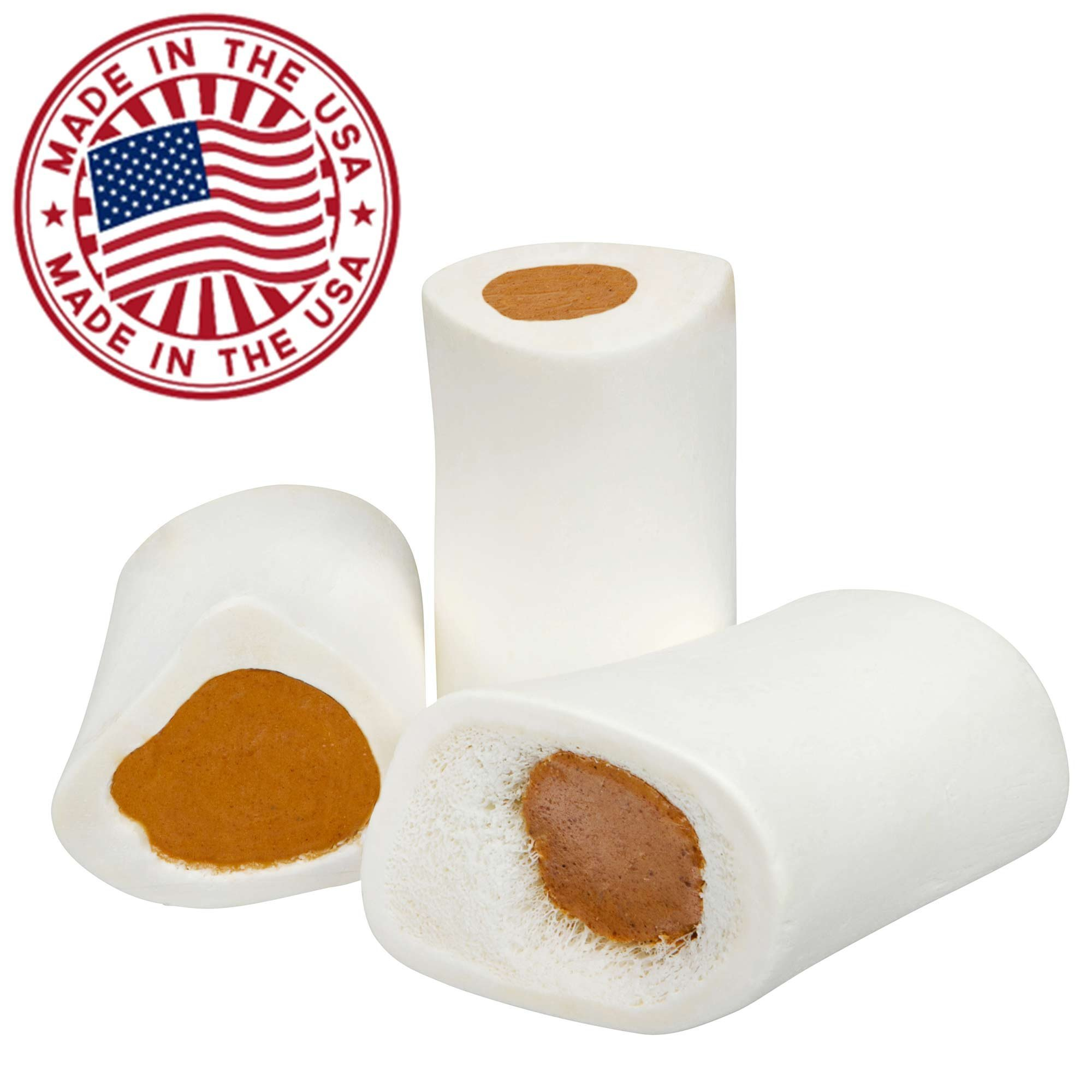 Filled Dog Bones (Flavors: Peanut Butter, Cheese, Bacon, Beef, etc.) Made in USA Stuffed Bulk 3 to 6'' Femur Dog Dental Treats & Chews, American Made (Peanut Butter Filling, Small (3'') - 50 Pack)