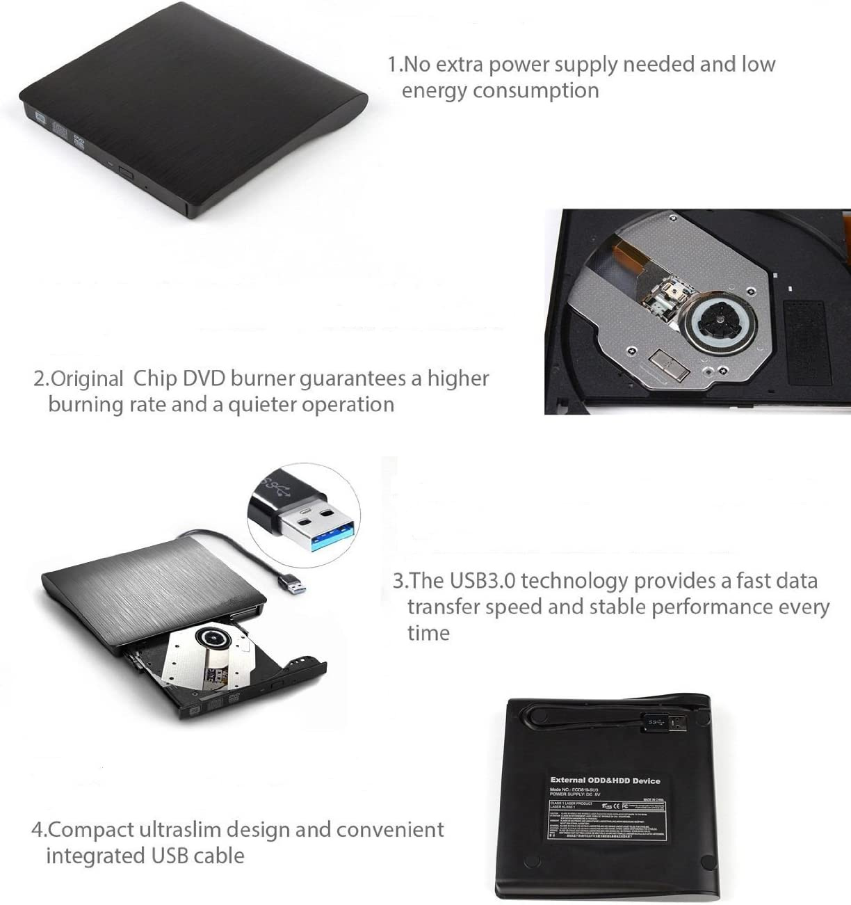 Brymily USB3.0 Slim CD//DVD-RW Burner Player Superdrive External Optical Drive for Laptop Desktops-Black