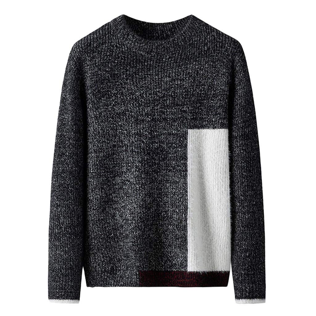 wuliLINL Men's Knitted Autumn Winter Stitching Color Textured Jumper Casual Sweater(Black-A,XXL) by wuliLINL