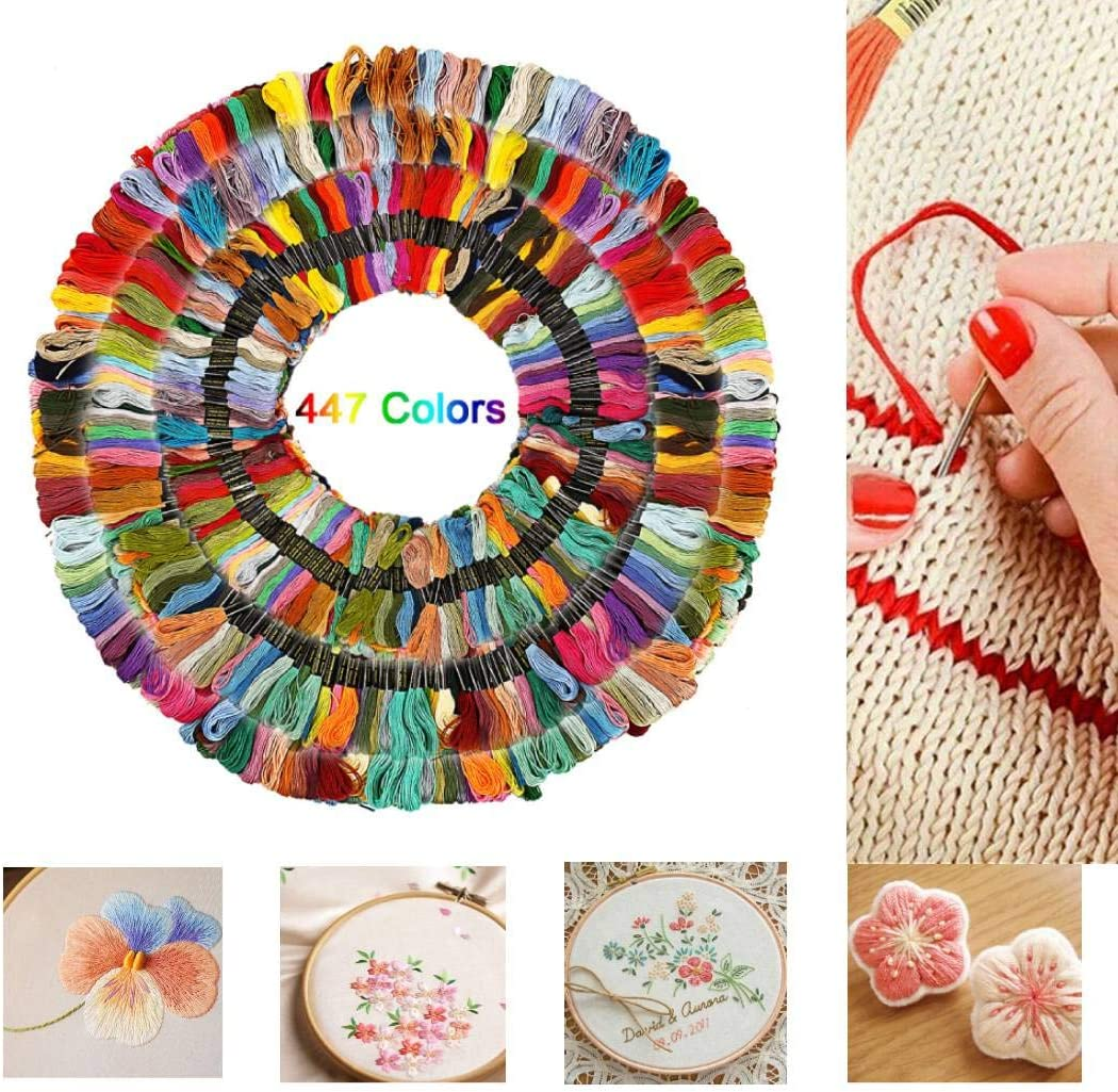 Cross Stitch Project for Beginners Adults Knitting Sewing Thread Kit Skeins Embroidery Set Cross Stitch Sewing Frame Mix Colors 100PCS+54 Tool