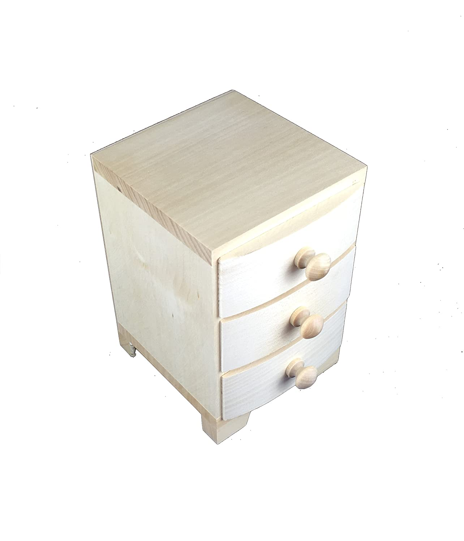 Mini cajonera 3 cajones madera decoupage woodeeworld